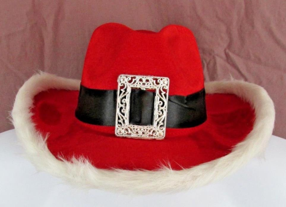 Christmas Santa Claus Elf Red & White Costume Country Holiday Cowboy Hat