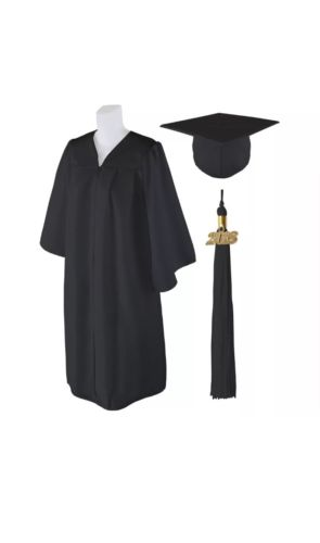 Standard Matte Graduation Cap and Gown with Matching 2018 Tassel BLACK Fit