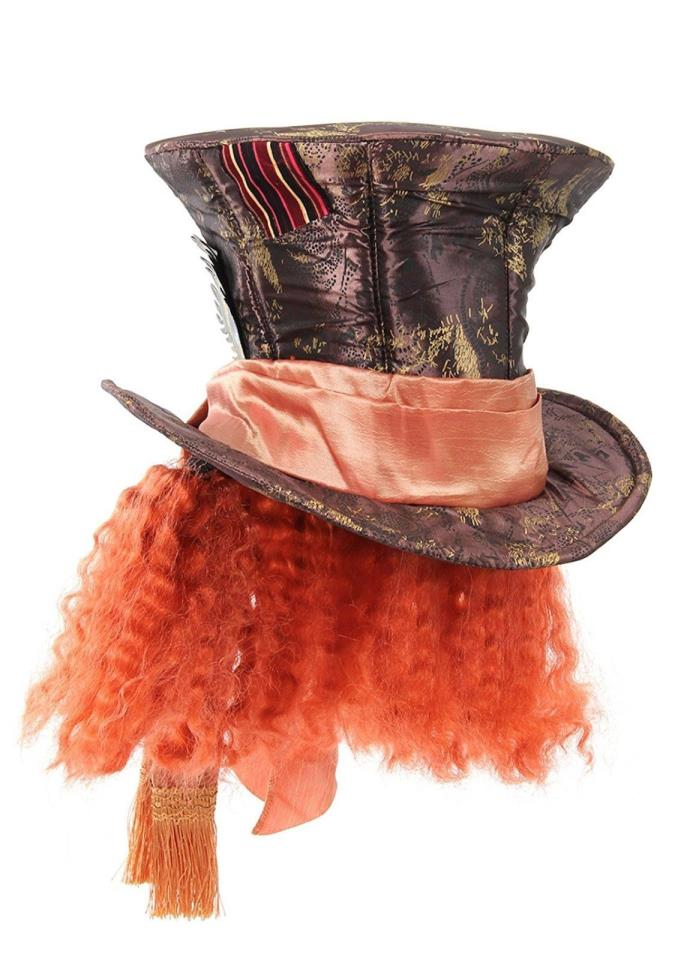 Disney mad hatter orange hat with hair for women and men by New Free Shipping