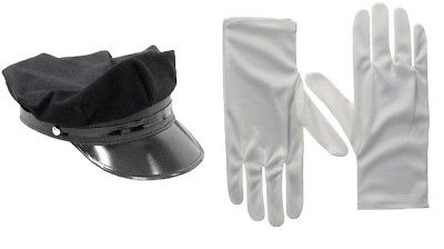 Adult Black Chauffeur Driver Hat White Gloves Officer Set Limo Cap Costume Prop