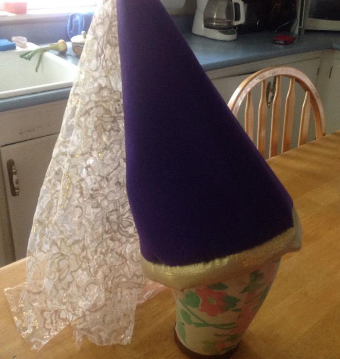 deluxe princess cone hat with veil pink blue red brown purple
