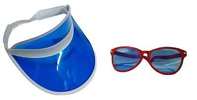 Blue Clear Visor Goofy Red Jumbo Sunglasses Fun July 4th Hat Costume Accessory