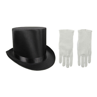 Tall Black Satin Formal Victorian Top Hat With White Gloves Magician Costume