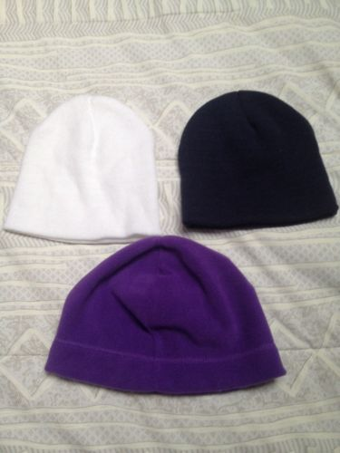 NEW- 3 - ROYAL PURPLE, ARCTIC WHITE, DARK NAVY CAP BEANIES HAT HOODIES ONE SIZE