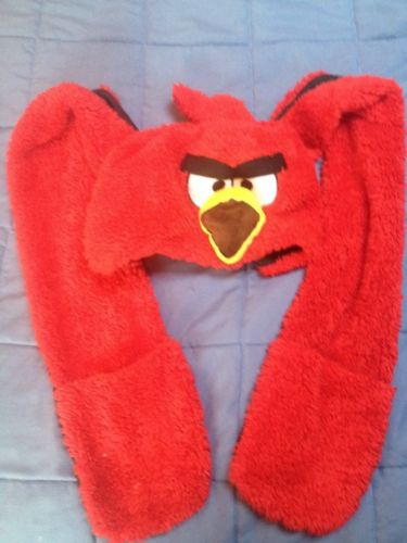 BIG RED BAD ANGRY BIRD ! NEW LARGE CAP BEANIES HAT HOODY HOODIE SIZE FITS MOST