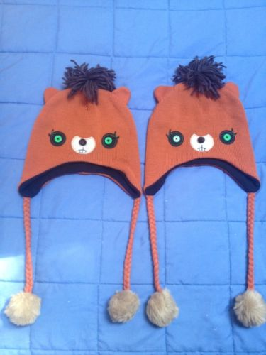 2 TWO - BROWN BEAVER'S - GREEN EYES !! NEW CAP BEANIES HAT HOODIES SIZE FITS ALL