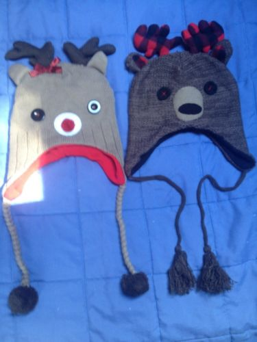 2 TWO - REINDEER & RUDOLPH HATS - NEW CAP BEANIES HAT HOODIES -ONE SIZE FITS ALL
