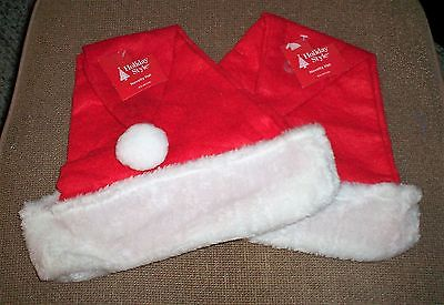 QUANTITY OF 2 HOLIDAY STYLE SANTA HAT CLASSIC RED AND WHITE NEW