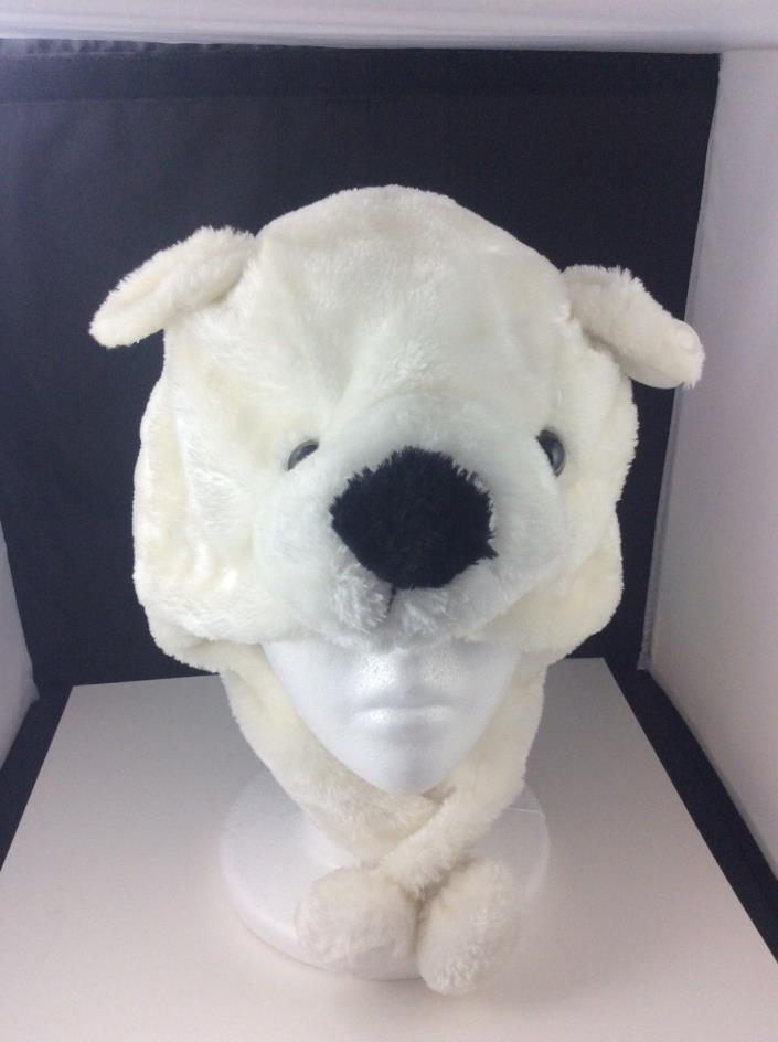 Plush Polar Bear Hat w/ Pom Poms Winter Christmas