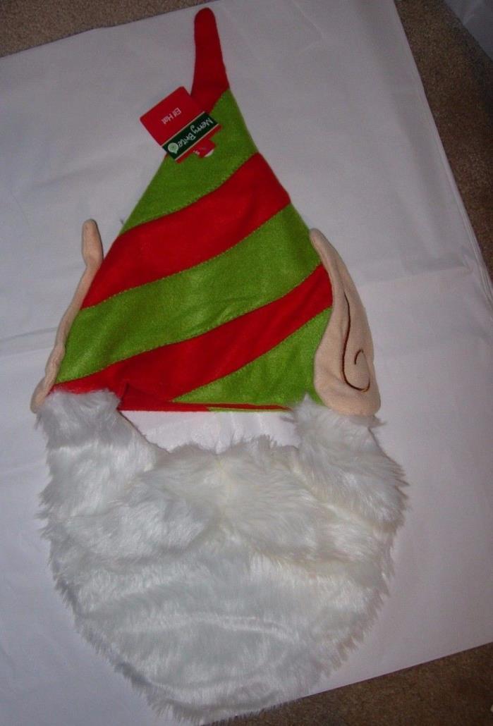 NEW Elf Hat Green Red SANTA'S Helper BEARD Santa Christmas Costume Party UNISEX