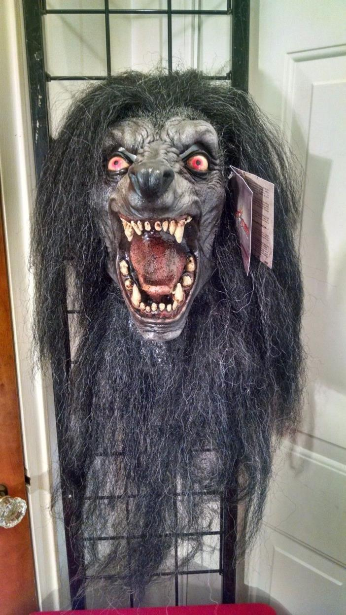 Black Moon Wolf Werewolf with Hair Monster Premium Latex Halloween Mask Prop NEW
