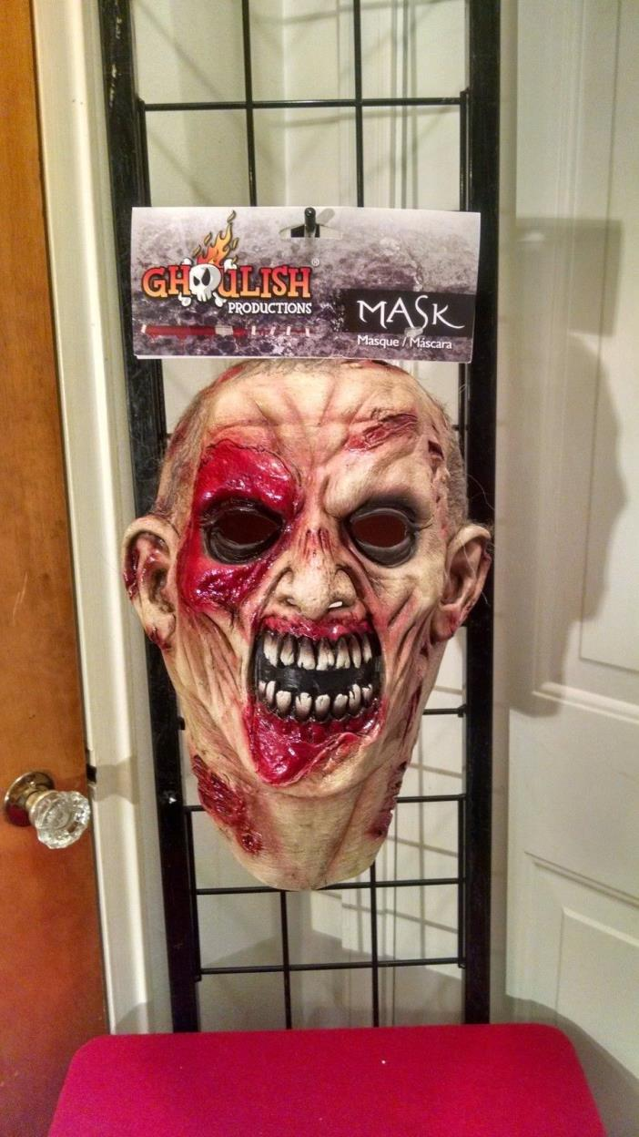 Unearthed Zombie Evil Monster Walking Dead Flesh Wound Latex Halloween Mask Prop