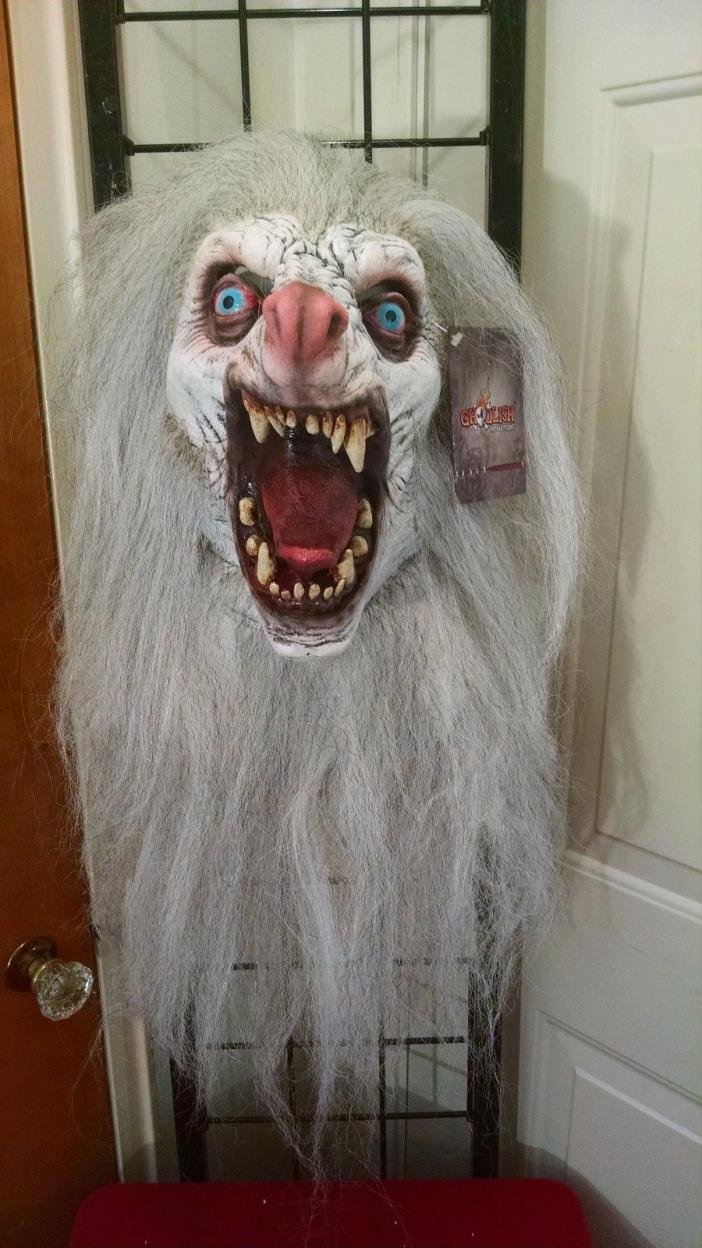 White Moon Wolf Werewolf with Hair Monster Premium Latex Halloween Mask Prop NEW