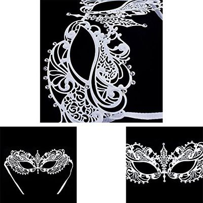 Adorox White Laser Cut Ornate Venetian Pretty Masquerade Mask Rhinestones Mardi