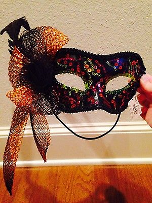 NEW w/ Tags Pier 1 Mask Costume Mardi Gras Halloween Masquerade FORMAL Feathers