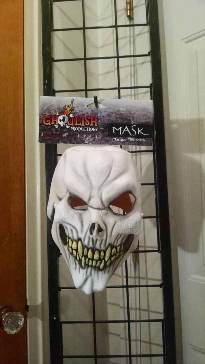 White Skull Skeleton Evil Scary Ghoul Monster Horror Latex Halloween Mask NEW