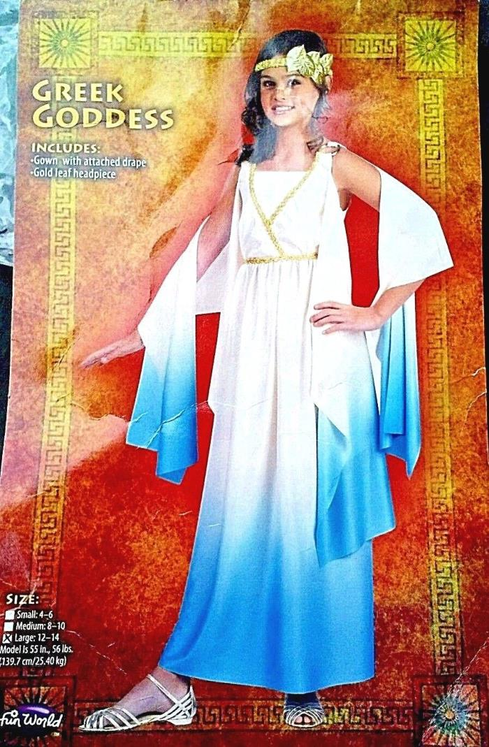 Greek Goddess Costume Large 12-14 girls   2 piece headband & Dress with flaws