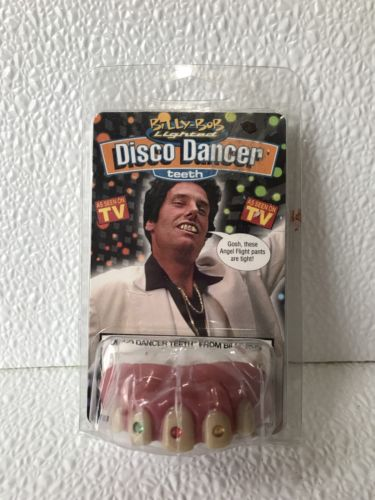 Billy Bob Disco Dancer Light Up Teeth Moldable Reuseable W Putty One Size Fake