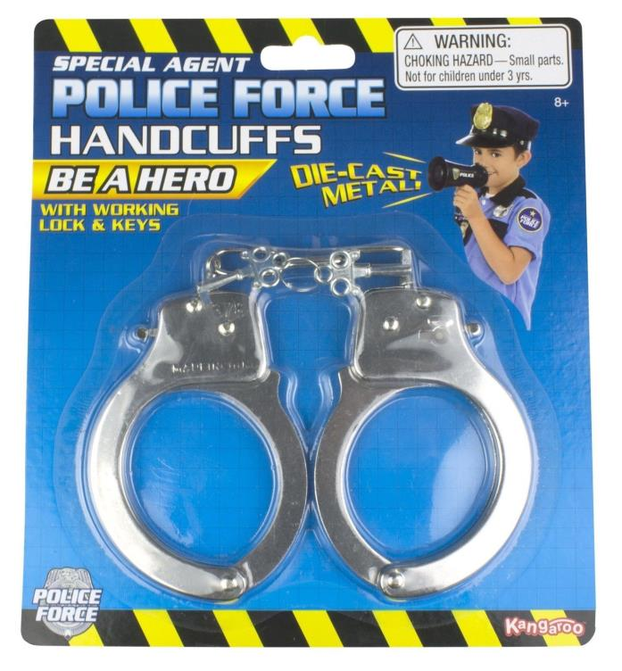 Kangaroo's Police Costume Accessories Metal Handcuffs NEW