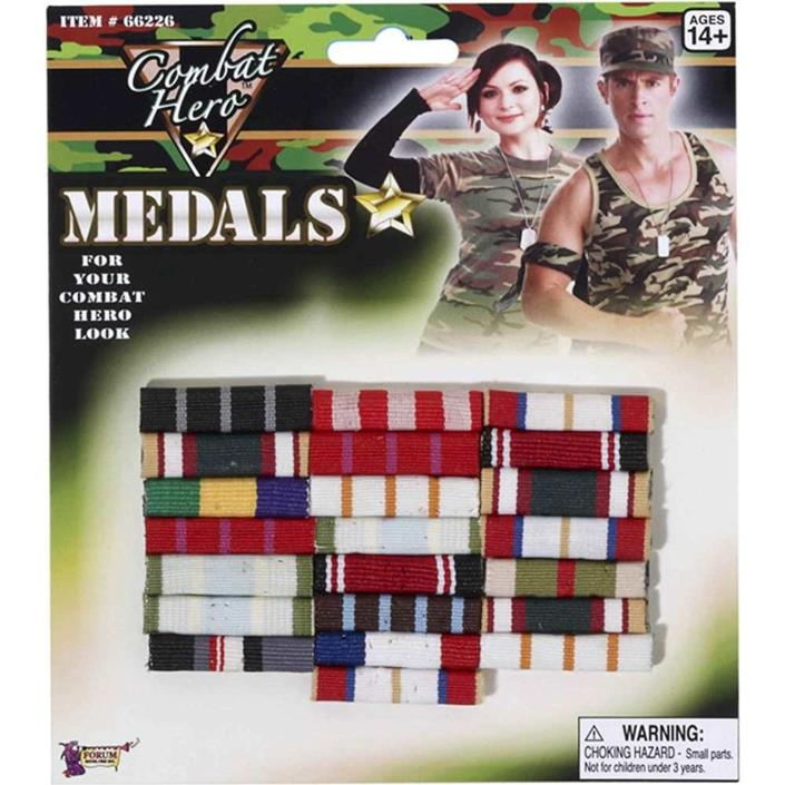 Combat Hero Army, Marine Medals Bar Ribbon Style Costume, Cosplay, Theater