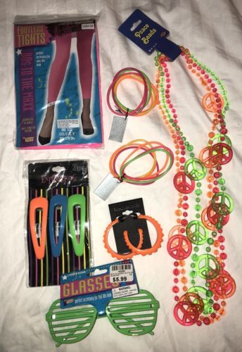 NEW Lot of 80's Costume Accessories Peace Beads Sunglasses Tights Earrings Etc