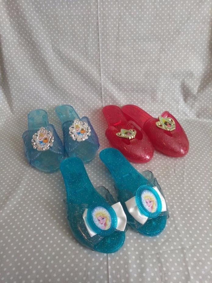 Lot of 3 Disney Princess Play Dress-up Shoes Heels Elsa Cinderella Elena