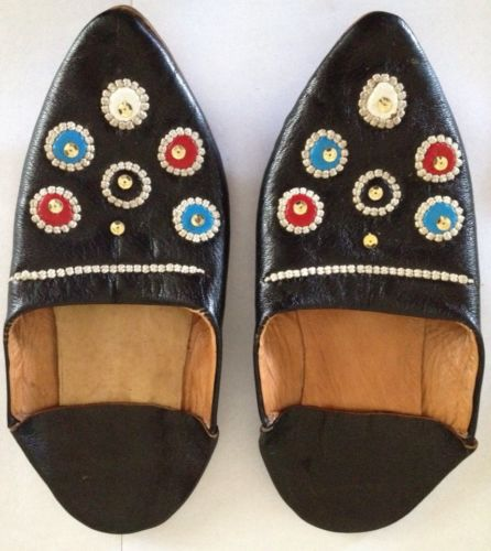 Indian Slipper Shoes Size 6 Handmade Leather Flat Bollywood Halloween Costume