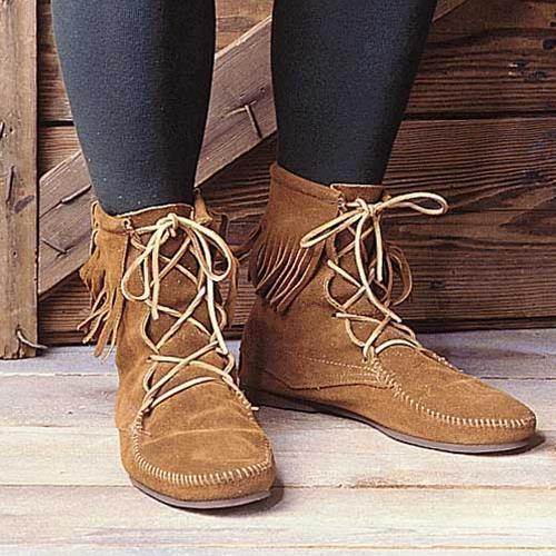 Medieval Low Boots with Fringe