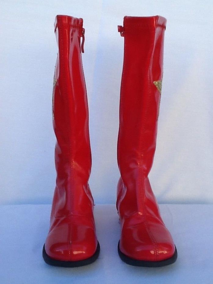 Girls costume red Boots With Star  size Small
