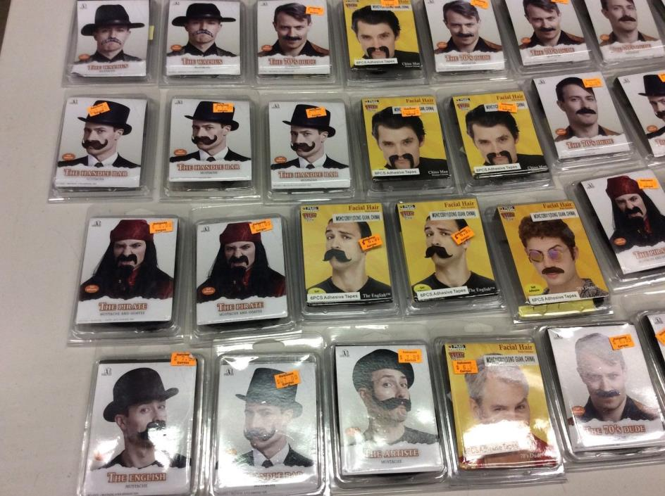 Mustaches with adhesive NEW IN BOX.  Lot of 40 mustaches. Facial hair.  Costume.