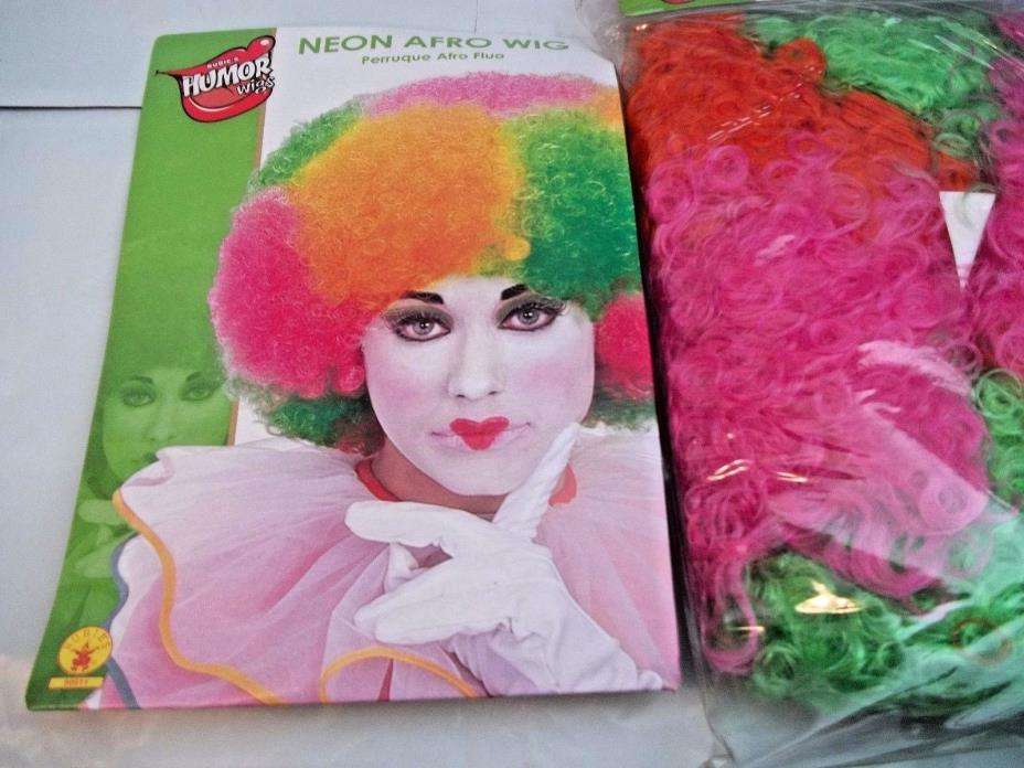 Neon Clown Wig Afro Multi Color Neon Happy Colors Cool Wig