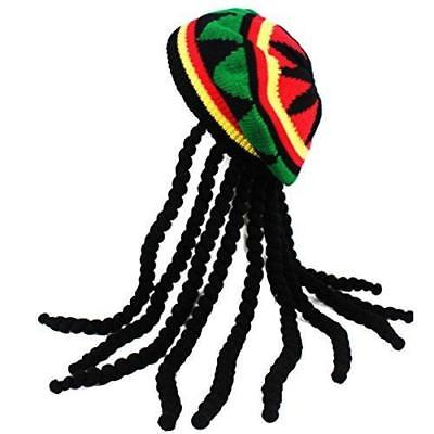 Rasta Hat with Dread lock Like Long Black Hair - Rasta Wig With Cap Costume Acce
