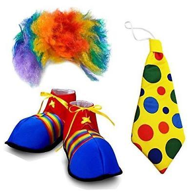 Funny Party Hats Clown Costume Adult - 3 Pc, Set - Clown Wig and Costume Accesso