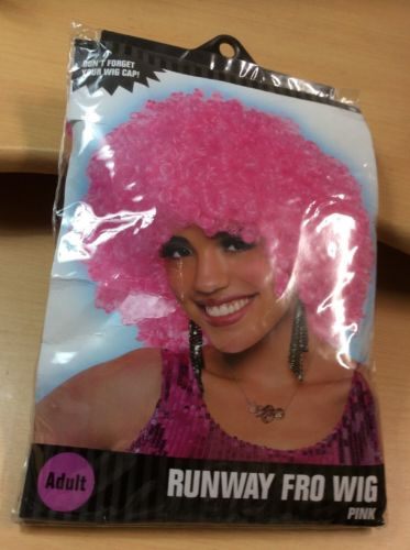 RUNWAY FRO WIG Adult Disco Afro Fro Costume PINK Costumes USA