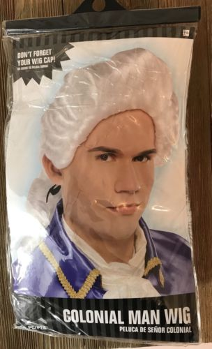 New Colonial Man White Wig Costume Dress-Up Play Drama Class #B5