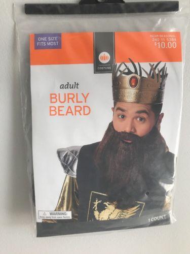 NIP ADULT BURLY BEARD HALLOWEEN  KING MEDIEVAL PIRATE MENS BOYS COSTUME BROWN