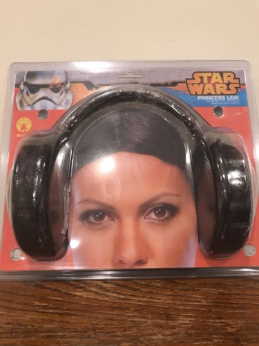 Princess Leia Headband Wig Star Wars Carrie Fisher Hair Buns Adult Womens