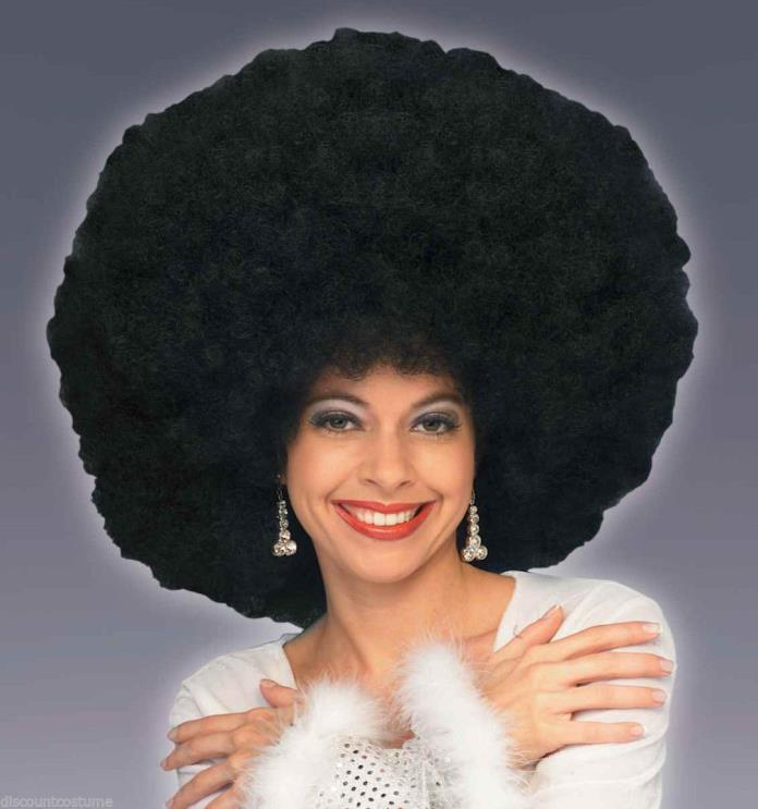 DELUXE 70s GIANT BLACK AFRO WIG DISCO FEVER ADULT JUMBO WIG COSTUME ACCESSORY