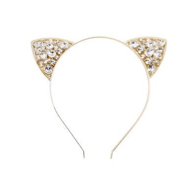 Cat Ears Metal Headband - Rhinestones Gold - Halloween Costume or Everyday
