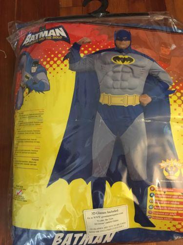 BATMAN Brave&Bold Aduld PLUS SIZE Halloween Costume Muscle Shirt Cape Etc NWOT