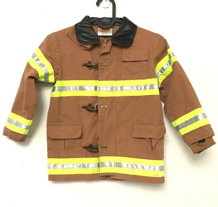 Get Real Gear Firefighter Jacket 4-6 Fireman Halloween Dress Up Brown Aeromax