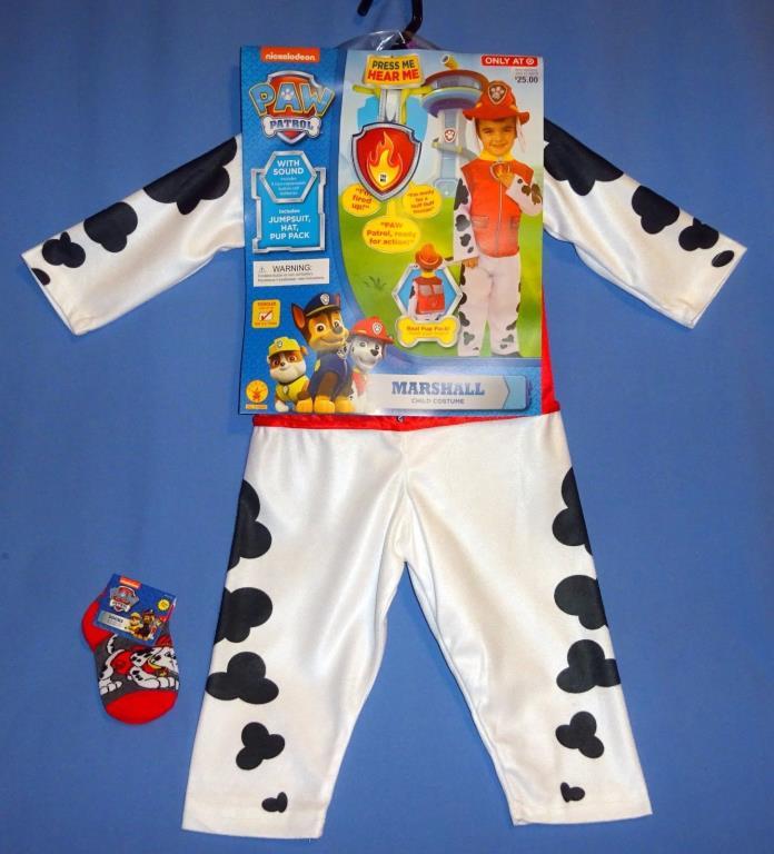 Fireman Costume kids 2T-3T Marshal Paw Patrol Dalmatian Suit Hat Backpack-socks