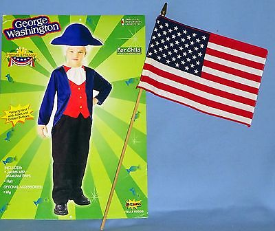 George Washington Costume kids-8-10;Historical-Colonial-President-American Flag