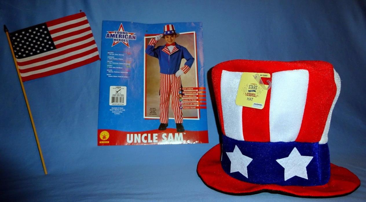 Uncle Sam Costume-kid-12-14-Coat-pants-shirt front-bow tie-Hat-American Flag-LOT