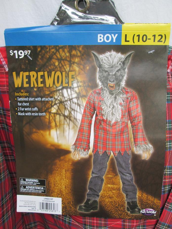 GRAY WEREWOLF Boys L (10-12) Halloween Dress-Up Costume NEW