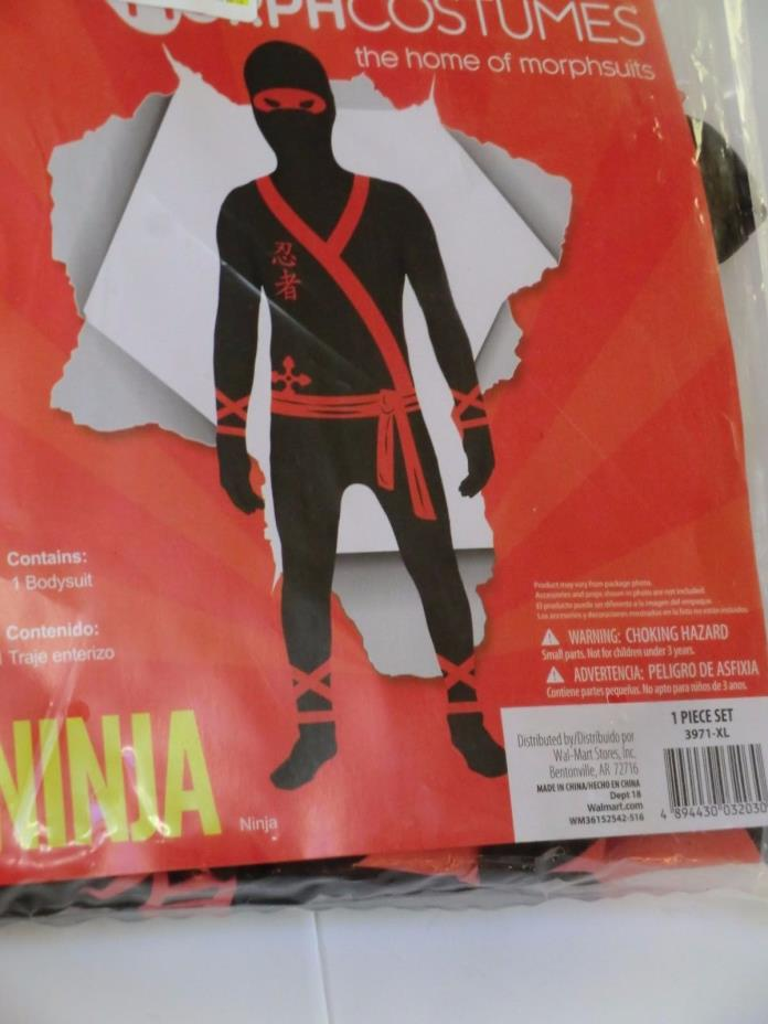 Ninja morph suit new boys XL 14 16 morphcostume black red