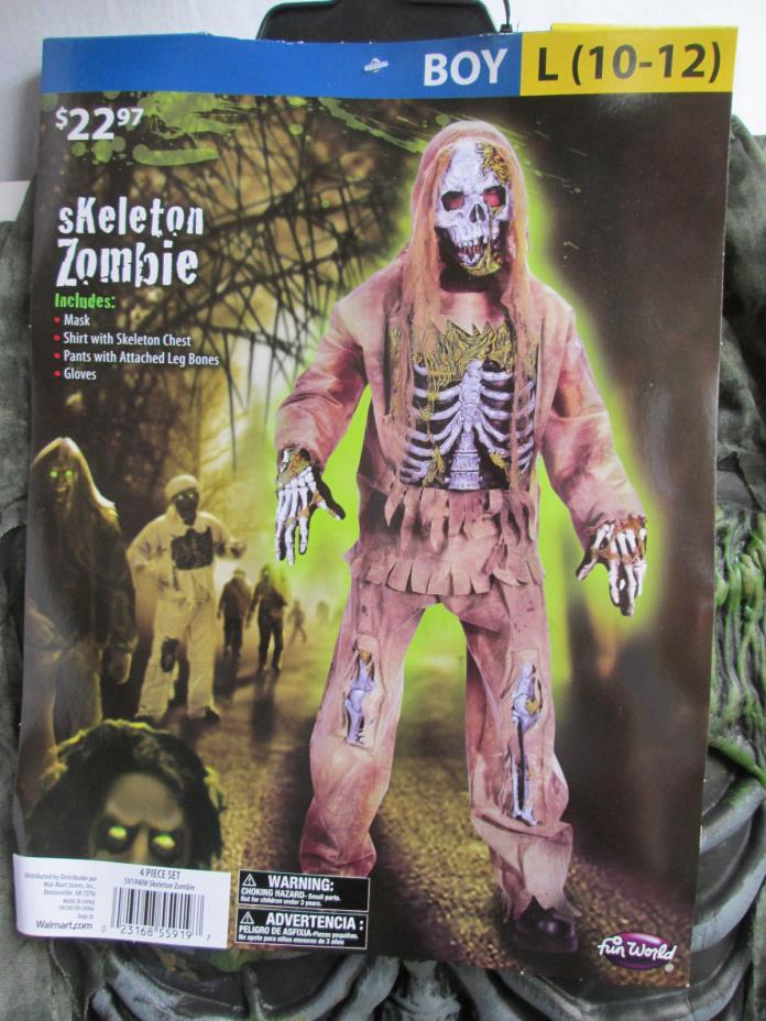 SKELETON ZOMBIE Boys L (10-12) Halloween Dress-Up Costume NEW