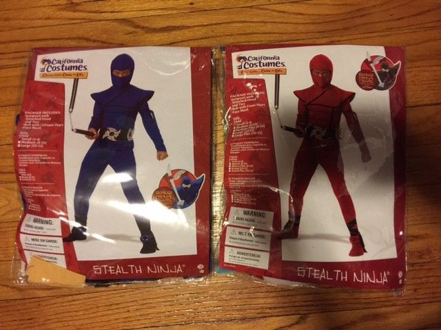 Halloween Costume Red or Blue Ninja - Child Size 6-8