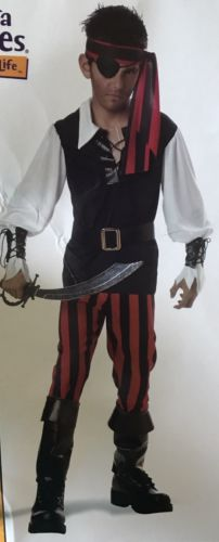 Kid's Pirate Outfit California Costume 00588 Size Large 10/12 Party Halloween