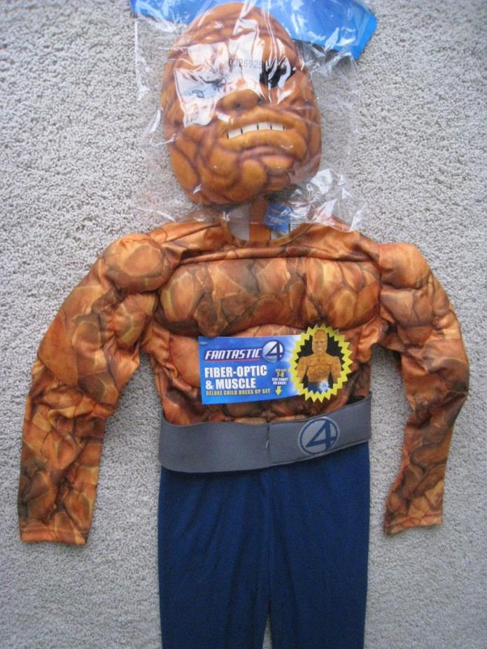 Rare Fantastic 4 Fiber-Optic & Muscle Deluxe Dress Up Set Halloween Costume 7-8